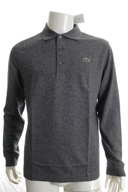 279f443a BNWT LACOSTE YH9521 GREY SLIM FIT POLO COTTON SHIRT LONG SLEEVE SIZE 5 L  RRP £