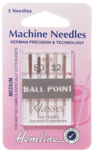Tamaño 80//12 aguja para máquina de Coser Agujas de punto de bola-Klasse bien-Pack 5