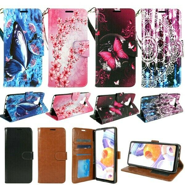 Flowers Lover butterfly for LG K51 LG Reflect Case With Tempered films For Women Girls,Bling Girls Leather Filo slots stand Wallet Flip Protective Case phone Cover /& neck strap for LG K51