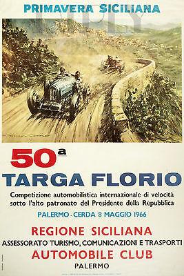 REPRO DECO AFFICHE TARGA FLORIO AUTOMOBILE SICILIANA SUR PAPIER 310 OU 190 GRS