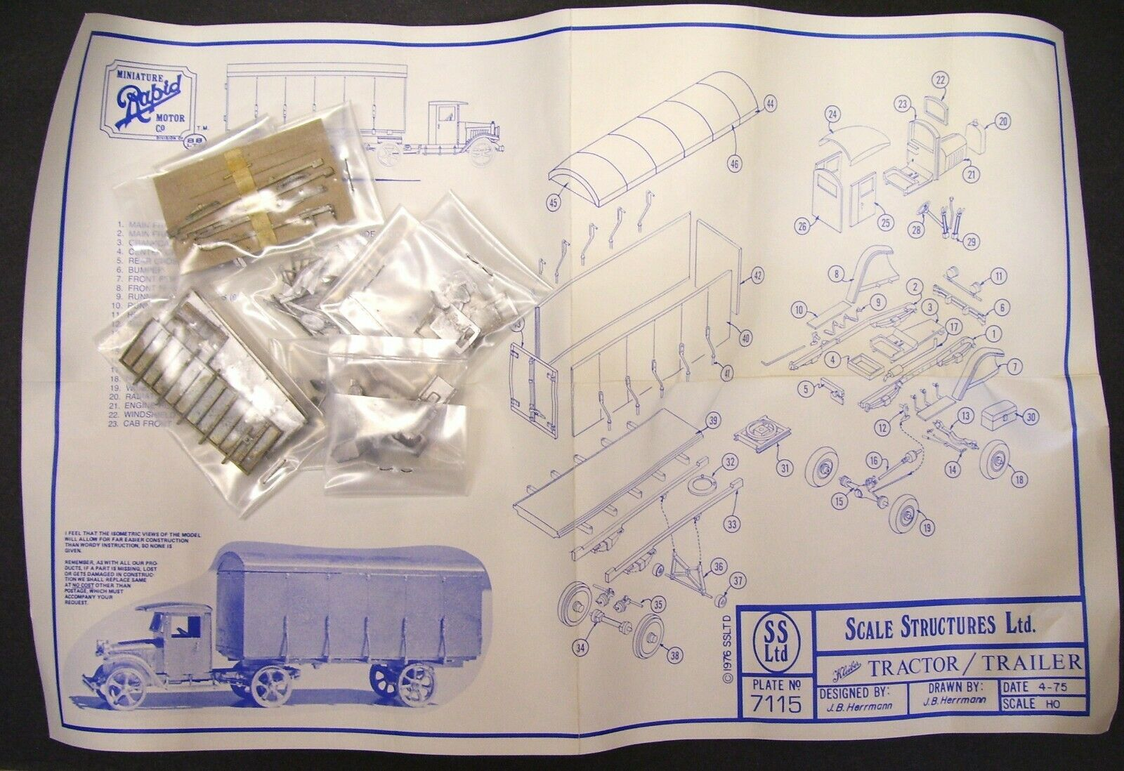 RARE - Scale Structures Ltd - Kleiber - Tractor Closed Cab Covered Trailer