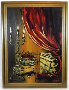 Original-Oil-Painting-Gothic-Candle-Light-Framed-Signed