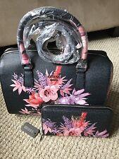 GUESS Ashville Bag FLORAL Wallet SET Black PINK ROSE Box Satchel Tote LOGO Purse