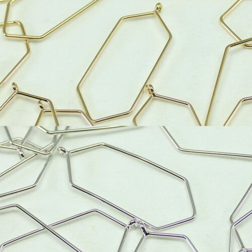 Hexagon Metal Beads Pendants Gold Silver beads for Jewelry Making Supplies #256