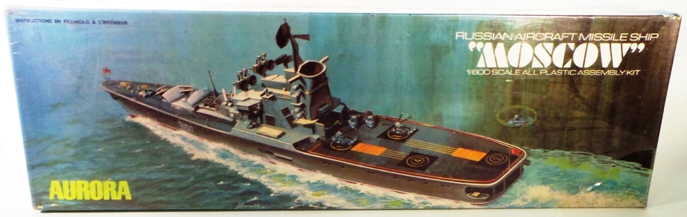 MARITIME   RUSSIAN AIRCRAFT MISSILE SHIP MOSCOW MODEL KIT MADE BY AURORA IN 1971