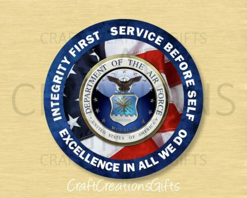 Metal Wreath Sign AIR FORCE Round Attachment Accent Military usaf Core Values