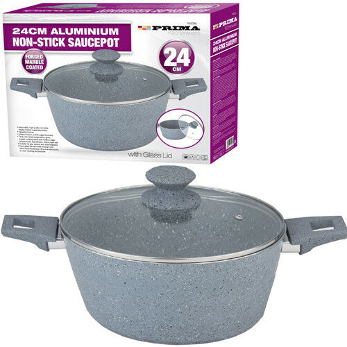 24CM-FRYING-PAN-SAUCEPOT-WITH-GLASS-LID-MARBLE-COATING-NON-STICK-KITCHEN-GREY
