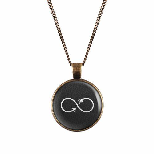 Mylery Hals-Kette mit Motiv Unendlich-Zeichen Infinity Schwarz Weiß silber oder