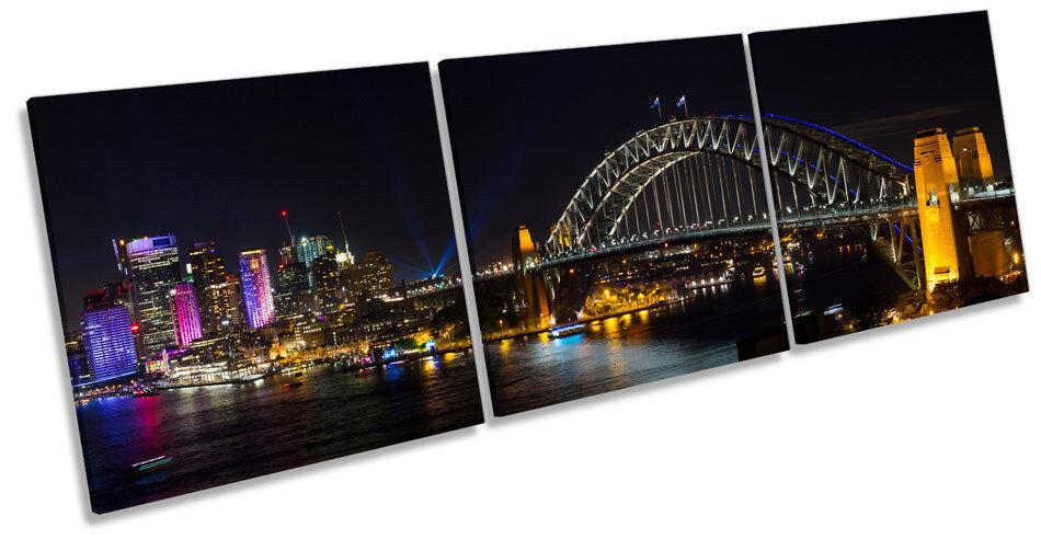 Bridge Harbour Sydney Australia TREBLE CANVAS WALL ART Box Frame Picture