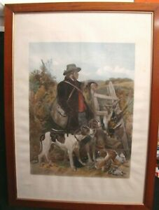 Large-103-x-75-cm-Etching-Original-1858-Hunting-Hunter-Dog