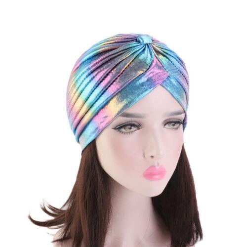 Women Ruffle Metallic Turban Headband Chemo Cap Hat Beanie Headscarf Headwrap