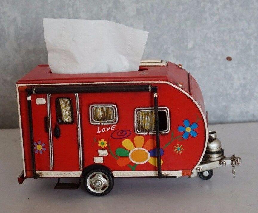 Remolque camper Airstream Shasta Rojo Caja de pañuelos Lata Hojalata coche a mano 1 un.