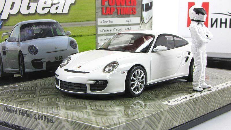 Coche escala 1 43, Porsche 911 GT2 (997) 2007 blancoo Top Gear