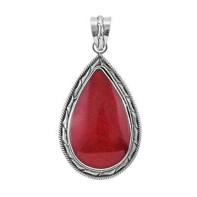 Bali Handmade Teardrop Red CORAL Gemstone Pendant in Sterling Silver 925-4.7 CM