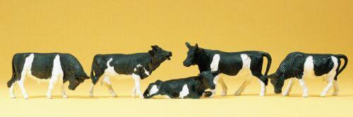 5 Figuren schwarz-weiß handbemalt Preiser 14155 H0 Neu Kühe