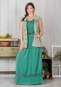 22d39a93b12 Matilda Jane DOWN IN THE VALLEY Maxi Dress Green Lace Sleeveless ...