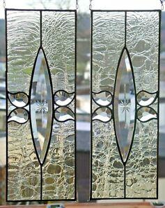 Bleiverglasung 2x Fensterbild Spitzoval- Gravurfacette m. Antikglas in Tiffany