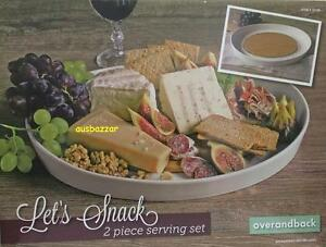 New-Over-amp-Back-Let-s-Snack-2-Piece-Serving-Set-Porcelain-Platter-amp-Bamboo-Board