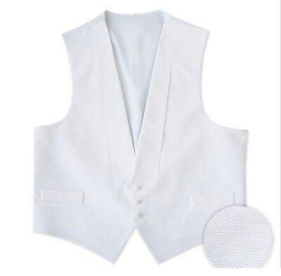 NEW Men's White Pique Tuxedo Vest & Self-Tie BowTie Debutante Ball S M L XL 2XL