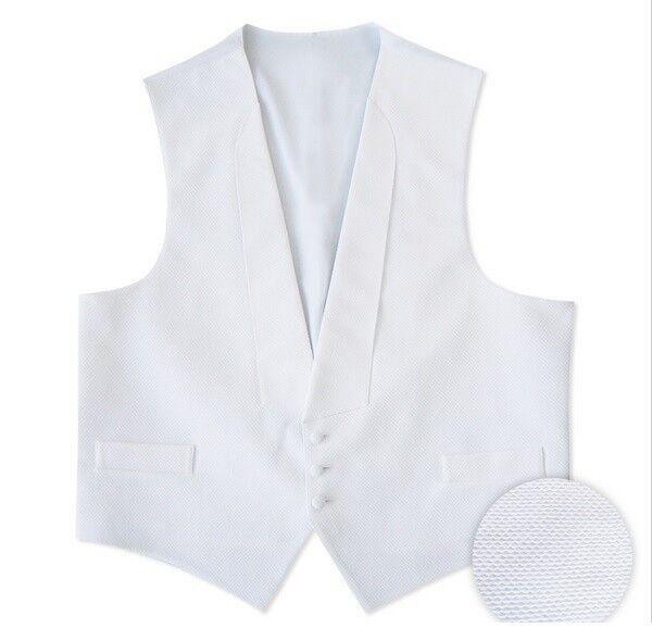 NEW Men's White Pique Tuxedo Vest & Self Tie BowTie Debutante Ball S M L XL 2XL