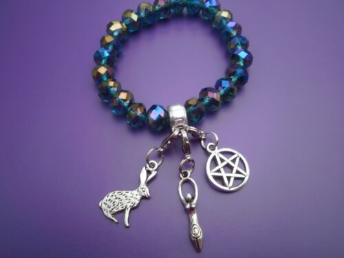 Green faceted charm bracelet  /& 3 clip on charms Wicca pagan wiccan Elasticated