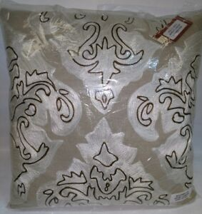 Details about New Deign Accents Cotton Arabic / Damask Ivory Throw Pillow  20'x20