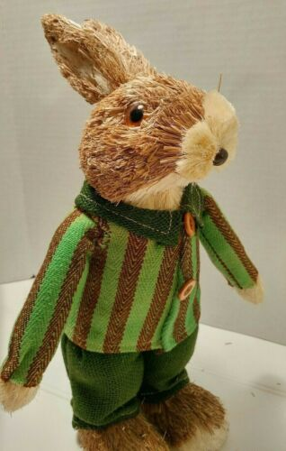 Pier 1 NWT Spring Easter Boy Rabbit Bunny Natural Sisal with Striped Jacket