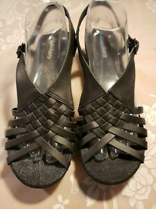 Womens-Skechers-Black-Leather-Ankle-Strap-Wedge-Sandals-Size-10-M