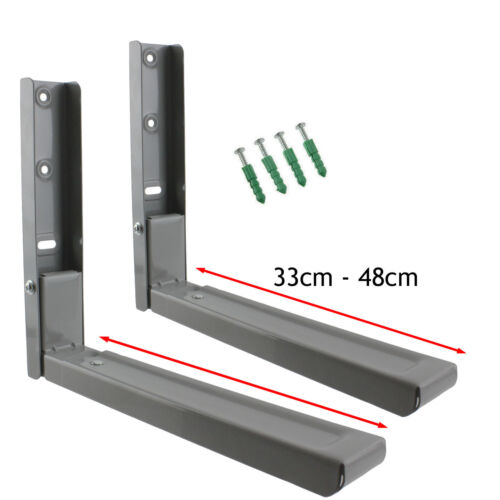 2 x LOGIK Microwave Brackets Extendable Wall Bracket Grey Mounts Silver Mounting