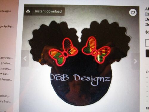 Afro puff design 1 or 2 Iron on embroidery design