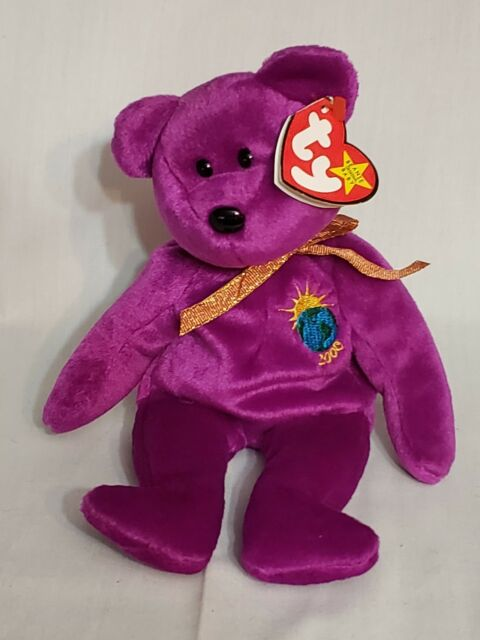 Ty Beanie Babies Millennium Bear 1999 Retired Pink Beanbag Plush Toy