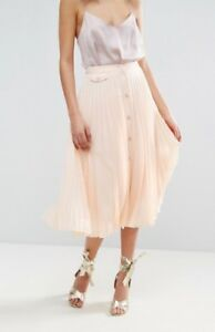 NWT-ASOS-Blush-Pink-Pleated-Button-Through-Midi-Skirt-US-10-UK-14