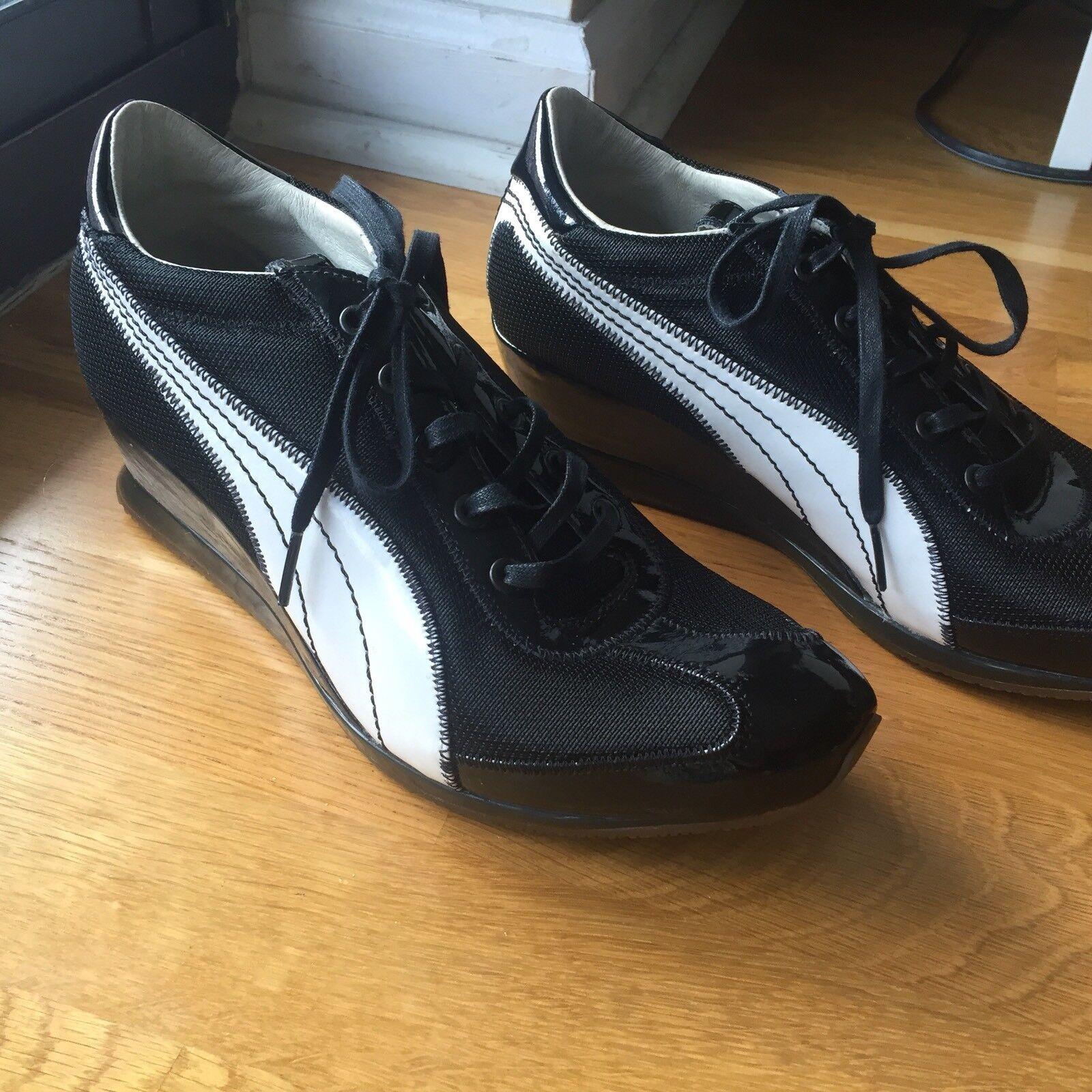 Raro puma nero label wmn scarpe us9 ferro tessuto tacchi