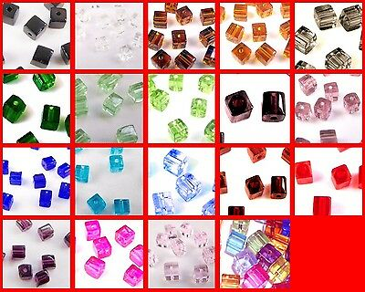 200x4mm / 100x6mm / 50x8mm Crystal Glass Cube Beads