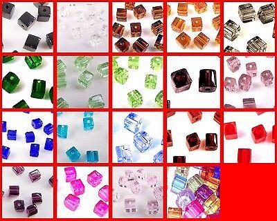 200x4mm / 100x6mm / 50x8mm Crystal Glass Cube Beads
