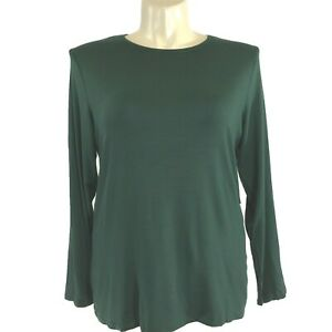NEW-Chicos-XL-3-Ultimate-Tee-Shirt-Knit-Top-Long-Sl-Scoop-Neck-Aurora-Dark-Green