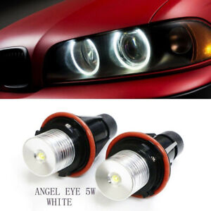 2x-BMW-E39-E60-E87-X5-LED-Angel-Eye-Halo-Ring-Marker-Side-Light-White-LED-Bulb