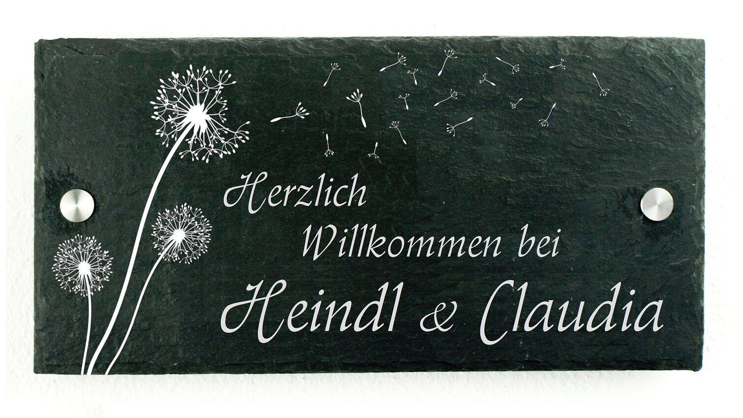 Letrero para Puerta Placa con Nombre Timbre Timbre Timbre de Esquisto Incl. Grabado 569c31