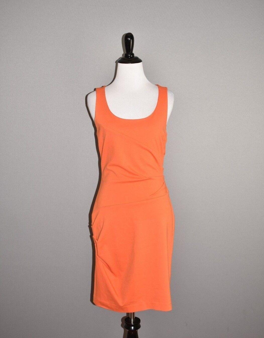 CYNTHIA STEFFE  Ponte Stretch orange Side Zip Ruched Sheath Dress Size 4