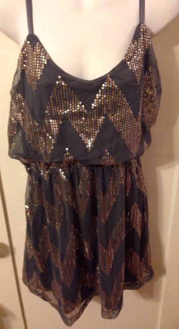 New Bailey Blue V-neck Gray Stretch Dress W Gold & Silver Sequins Sz Medium