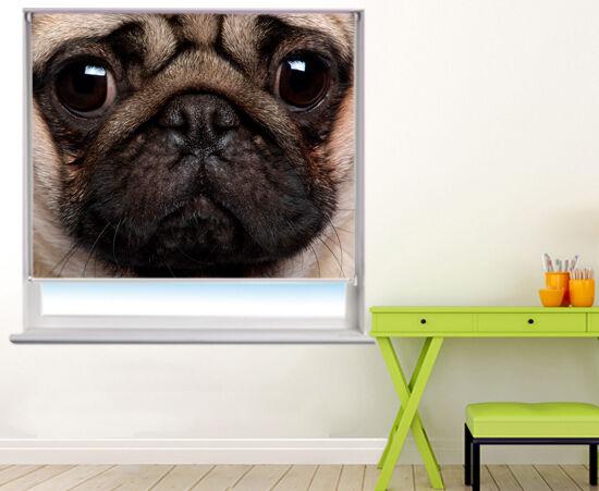 Persiana Enrollable foto impresión digital de los ojos Pug Animal Personalizado negroout Blind