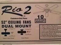 Rio 2 Dual Mount 52 Ceiling Fan White Finish Reversible Blades Washed Oak/white
