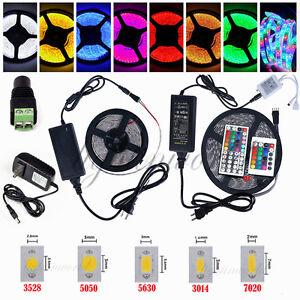 HOT! 5M SMD 3528 5050 5630 300LEDs RGB White LED Strip Light 12V Power Supply US