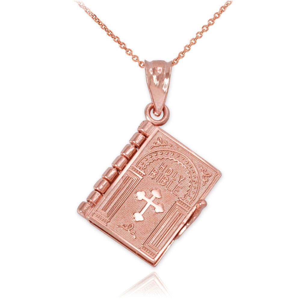 10k gold pink Libro De La Santa Biblia con El Padre Nuestro Colgante Collar