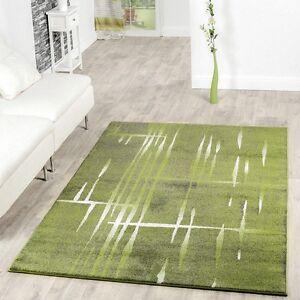 Moderner Wohnzimmer Teppich Matrix Design Kurzflor Meliert Grün Grau ...