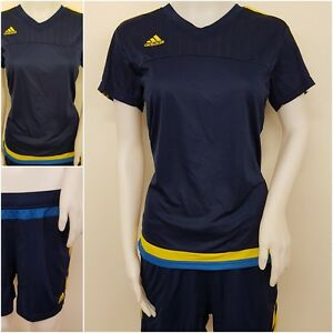 adidas Damen Tennis Golf Fitness Shirt Trikot Short Hose Frauen LIC blau L O