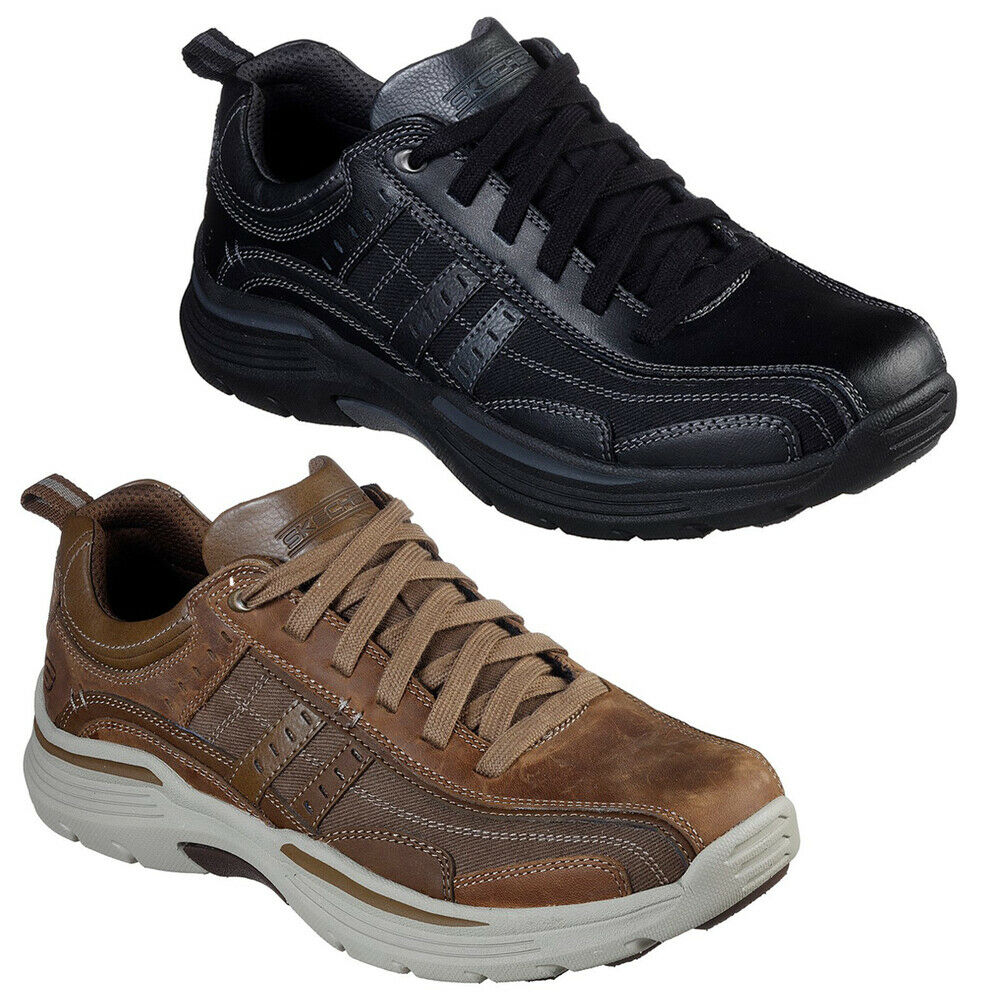 New Skechers Expended - Manden Mens Leather Hiking Walking Memory Foam Trainers