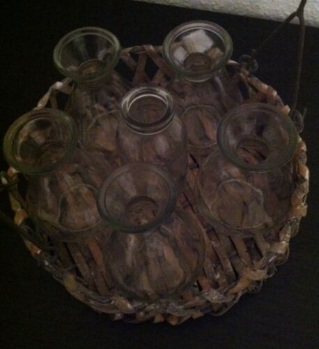 Maison de campagne panier d/'osier verre Impressionen vintage shabby Bouteilles vases vases-set