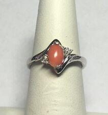 Sterling Silver Genuine Pink Coral & Diamond Ladies Ring