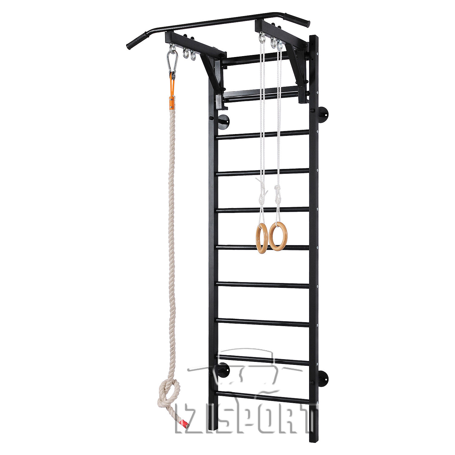 Adult's teenager's Home Gym Swedish Wall Pull Up Bar for the whole family&Ladder